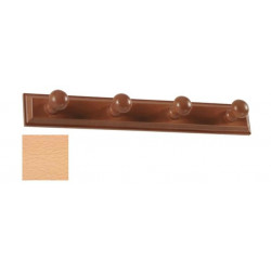 Percha Madera Pared Lacada Natural 4 Pomos