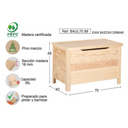 Baul Basico Pino S/barn 70x48x40cm