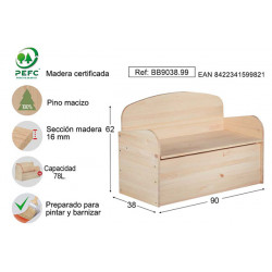 Banco Baul Deco Pino S/barn 90x62x38cm