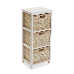 Mueble Aux. 3 Cestas Blanco 30x24x72