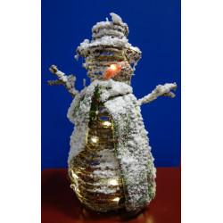 MuÑeco Nieve Mimbre Con Luz 40 Cm