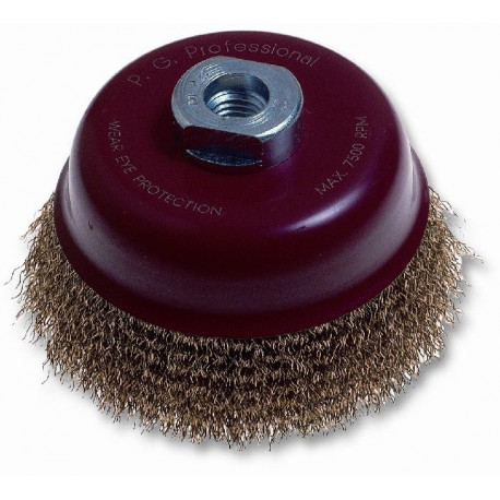 Cepillo Taza Acero Ltdo  85mm P/amoladora M-14 485.40 Codive