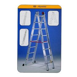 Escalera Mixta Aluminio 2x10 Peldaños Hasta 4,90mt E210