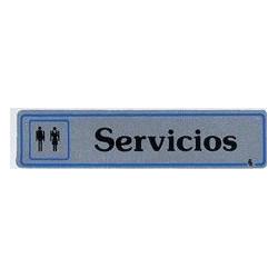 Placa Señal Adh 175x040mm Servicios Alu Pla Superl.