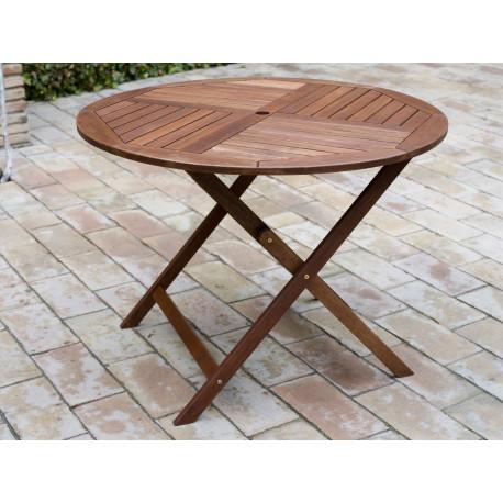 Comprar mesa plegable madera redonda 90cm en masferreteria for Mesas de jardin plegables