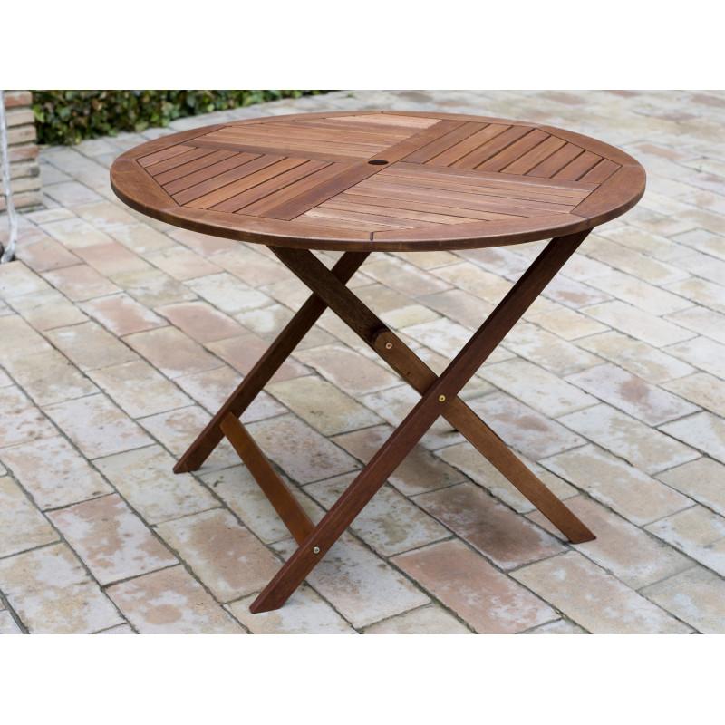 Comprar mesa plegable madera redonda 90cm en masferreteria - Mesa plegable madera ...