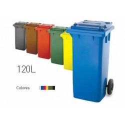 Contenedor Plastico Con Ruedas 120 Litros Amarillo 04005-4