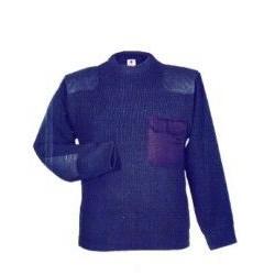 Jersey Grueso C/parches Azul C.redondo Y Bolsillo T-m 100