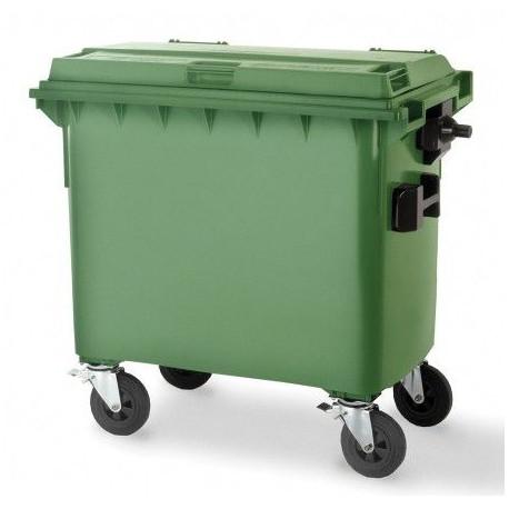 Contenedor Plast.c/ruedas 770l. Verde Tapa Plana 04013-5