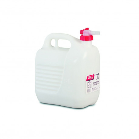 Bidon Plastico C/tapon-grifo De  5lt Blanco 230x145x257mm