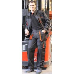Pantalon 65%pol./35%alg. Negro/naranja Top Range Talla M