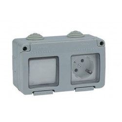 Interruptor-conmut+ Enchufe 10a 250v Tt Lat Ip55 Famatel