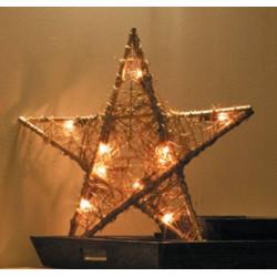 Estrella Ratan Iluminada 20 Bombillas Interior 50x50x4cm.