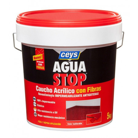 Impermeabilizante Caucho Acrilico C/fibras Rojo 5kg Aguastop