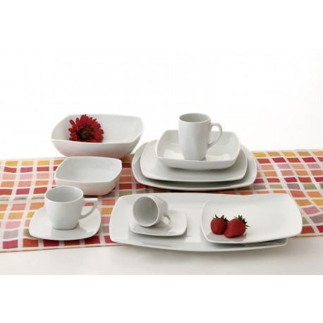 Plato postre cuadrado 20 cm porcelana blanco vinci 5048003 for Platos cuadrados de porcelana