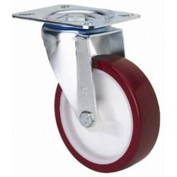 Rueda Gir Sin Freno 080mm 2-2354 Pl.105x080 100kg.liso Pu B/