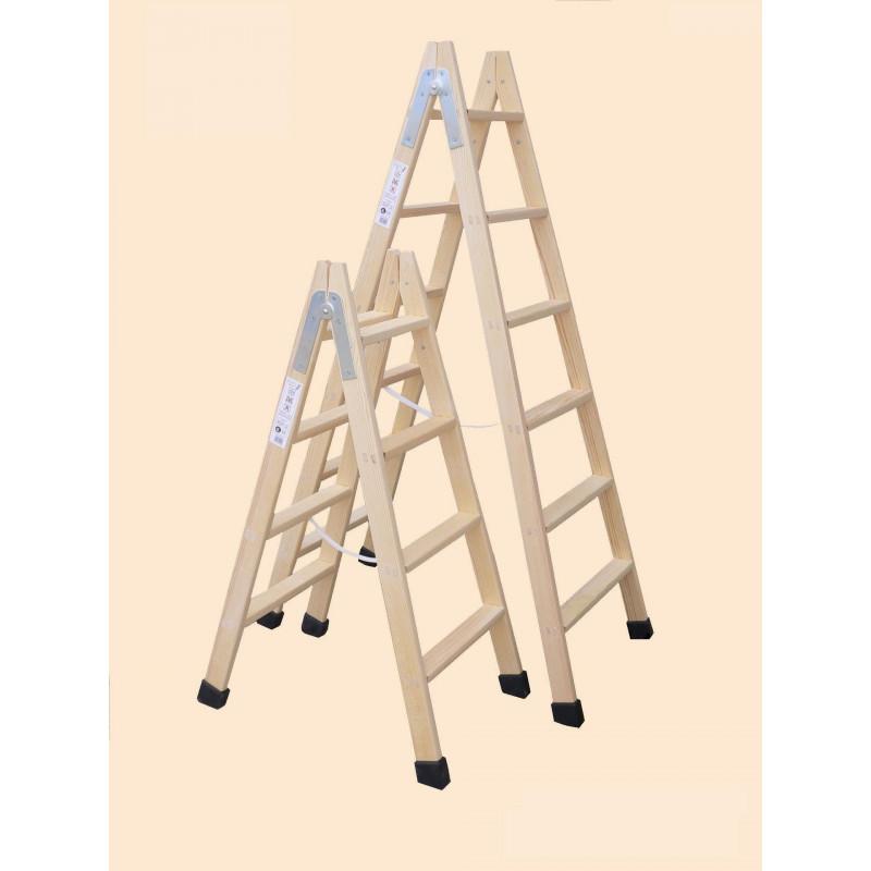 Escalera de madera doble con taco 4x4 comprar en for Escalera tijera de madera