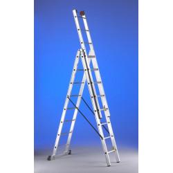 Escalera Mixta Aluminio 3x7 Peldaños Hasta 4,90mt E37 Svelt