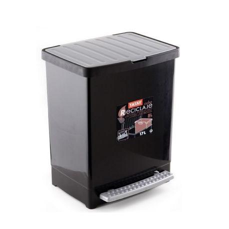Cubo Reciclaje 17 L. + 8l. Negro Ta-tay