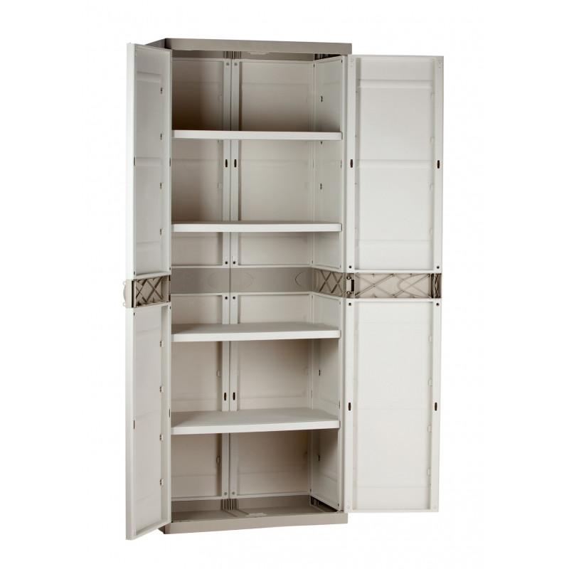 Comprar armario alto 2puertas 4 baldas resina beige 70x44x176 en masferreteria - Armarios terraza resina ...