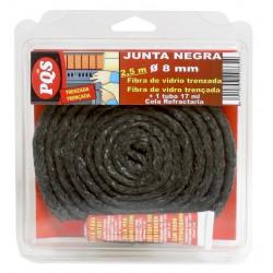 Junta Puerta Chimenea Trenzada F. Vidrio Negra 8x2,5mm