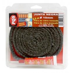 Junta Puerta Chimenea Trenzada F. Vidrio Negra 10x2,5mm