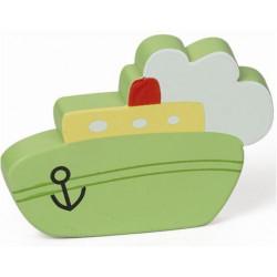 Pomo Mueble Infantil Abs Barco Vapor Verde 63x84mm