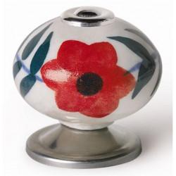Pomo Mueble Porcelana Flor Roja 40mm