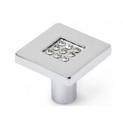 Pomo Mueble Zamak/cristal Cuadrado 28x28mm