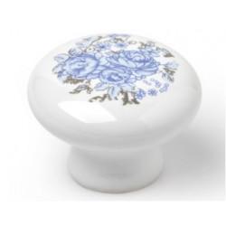 Pomo Mueble Porcelana Flor Azul 35mm