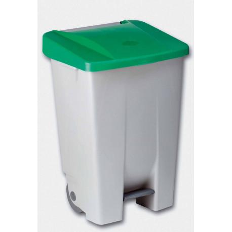 Contenedor Plastico C/ruedas Y Pedal 80 Litros Verde