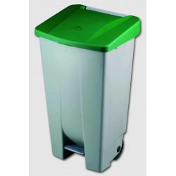 Contenedor Plastico C/ruedas Y Pedal 120 Litros Verde