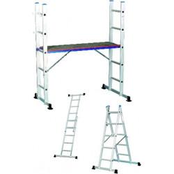 Escalera Aluminio Convertible En Andamio 2x5peldaños Madeira