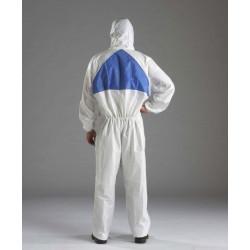 Buzo Polietileno 4540 Desechable C/capucha Blanco/azul T-l