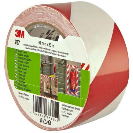 Cinta Señalizacion Vinilo 764 33mx50mm Blanco/rojo