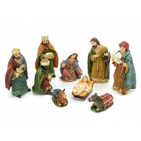 Adorno Navidad Nacimiento 9 Piezas Poliresina 11 Cm