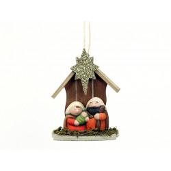 Adorno Navidad  Portal 2 Pz Ceramica Juinsa 11x14 Cm