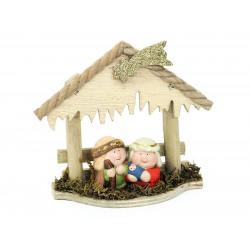 Adorno Navidad  Portal 2 Pz Ceramica Juinsa 17x15 Cm
