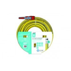 Manguera Tricotada Nts 5 Capas Amarill C/acc 15mm 25mt