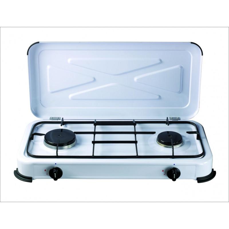 Cocina portatil de gas 2 fuegos 580x330x90mm 1 4 1 2 kw for Cocina electrica portatil