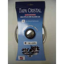Tapa Cristal Aro Inox Con Valvula 16cm