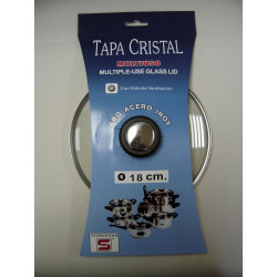 Tapa Cristal Aro Inox Con Valvula 18cm