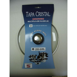 Tapa Cristal Aro Inox Con Valvula 20cm