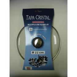 Tapa Cristal Aro Inox Con Valvula 22cm