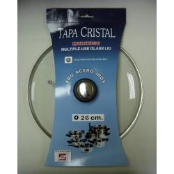 Tapa Cristal Aro Inox Con Valvula 26cm