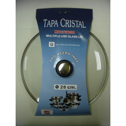 Tapa Cristal Aro Inox Con Valvula 28cm