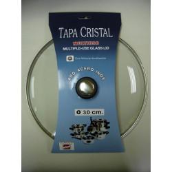 Tapa Cristal Aro Inox Con Valvula 30cm
