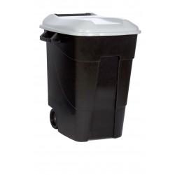 Contenedor Plastico Con Ruedas 100 Litros Negro Tapa Gris