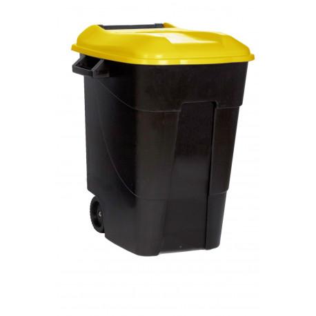 Contenedor Plastico Con Ruedas 100 Litros Negro Tapa Amarill