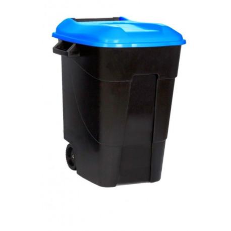 Contenedor Plastico Con Ruedas 100 Litros Negro Tapa Azul